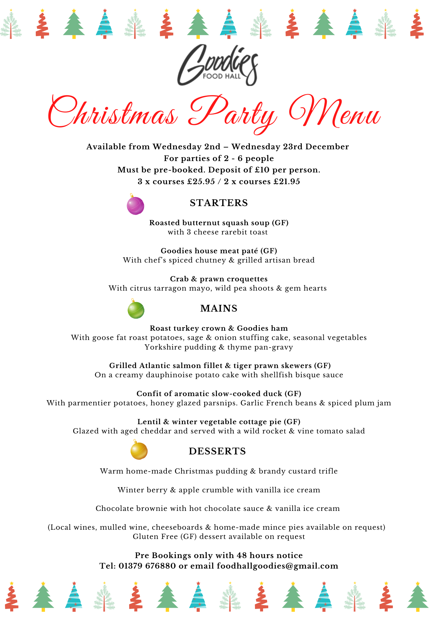 Christmas Party Menu 011220